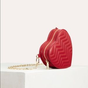 MAJE Red Quilted Leather Heart-Shaped Saddle Bag